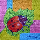 Obraz olejny: Lucyna Pawlak (Lu) - Biedronka na liściu